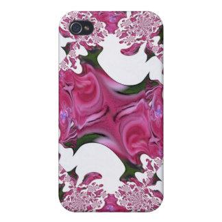 Caja color de rosa abstracta rosada de la mota iPhone 4/4S carcasa