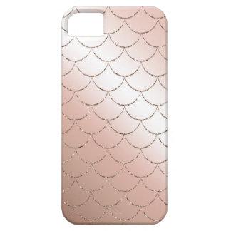Caja color de rosa de las escalas de la sirena del funda para iPhone SE/5/5s