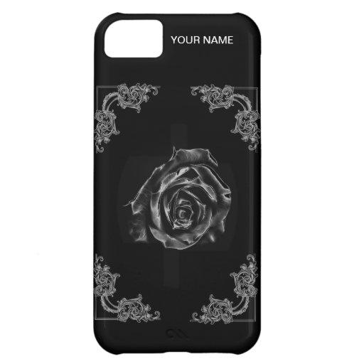 Caja color de rosa negra del teléfono del vintage funda para iPhone 5C