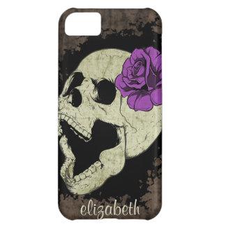Caja color de rosa púrpura del iPhone del cráneo d Funda Para iPhone 5C
