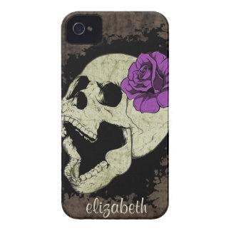 Caja color de rosa púrpura del iPhone del cráneo iPhone 4 Carcasas