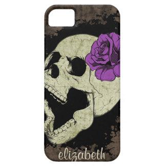 Caja color de rosa púrpura del iPhone del cráneo iPhone 5 Fundas