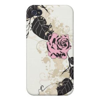 Caja color de rosa retra rosada de la mota iPhone 4 fundas