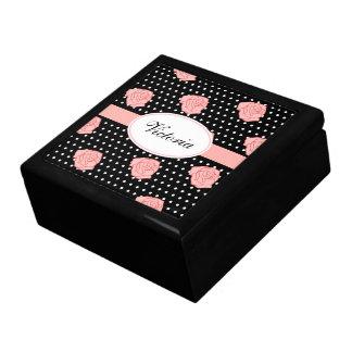 Caja color de rosa rosada personalizada joyero cuadrado grande