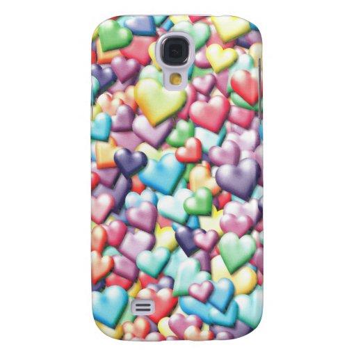 Caja coloreada del teléfono de los corazones carcasa para galaxy s4
