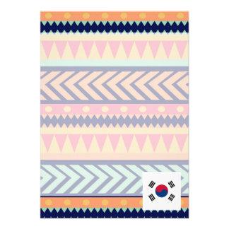 """Caja colorida de la bandera de la Corea del Sur Invitación 5"""" X 7"""""""