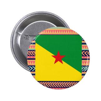 Caja colorida de la bandera de la Guayana Francesa Pin Redondo 5 Cm