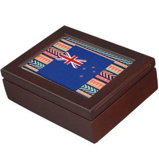 Caja colorida de la bandera de Nueva Zelanda Cajas De Recuerdos