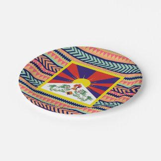 Caja colorida de la bandera de Tíbet Plato De Papel De 7 Pulgadas