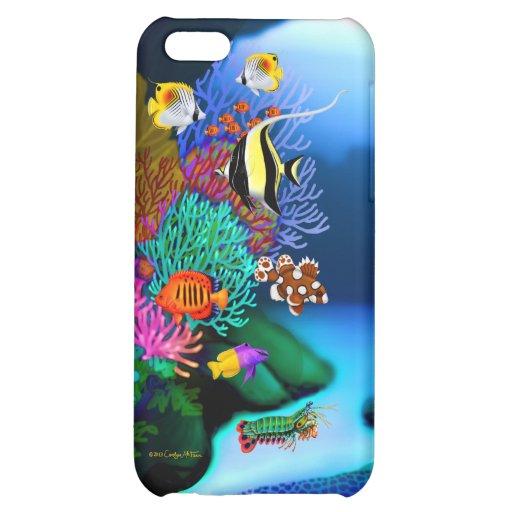Caja colorida de la mota de la vida del arrecife d