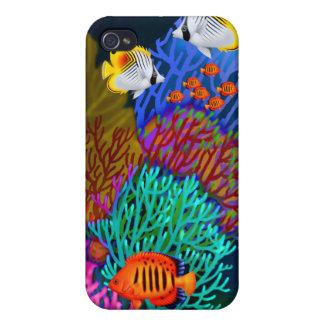 Caja colorida de la mota de la vida del arrecife iPhone 4/4S fundas