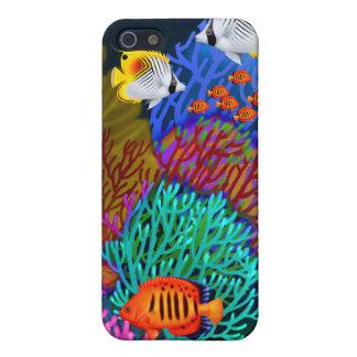 Caja colorida de la mota de la vida del arrecife iPhone 5 fundas
