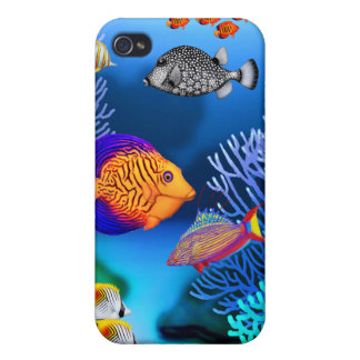 Caja colorida de la mota de los pescados del arrec iPhone 4/4S fundas