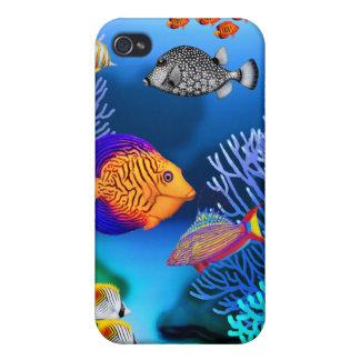 Caja colorida de la mota de los pescados del arrec iPhone 4/4S funda