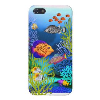 Caja colorida de la mota de los pescados del iPhone 5 carcasas