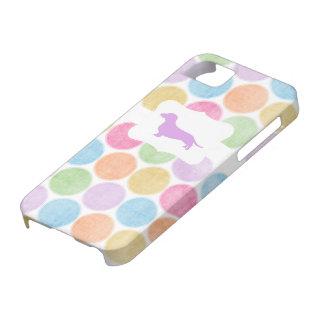 Caja colorida del Dachshund del lunar iPhone 5 Cárcasas