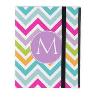 Caja colorida del iPad del monograma de Chevron
