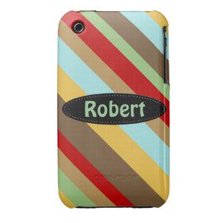Caja colorida del iPhone 3 del modelo rayado iPhone 3 Case-Mate Fundas