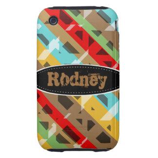 Caja colorida del iPhone 3 del modelo rayado iPhone 3 Tough Coberturas