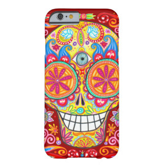 Caja colorida del iPhone 6 del cráneo del azúcar Funda De iPhone 6 Barely There