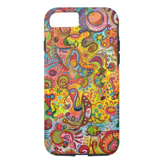 Caja colorida del iPhone 7 del arte abstracto Funda iPhone 7
