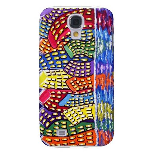 Caja colorida del iPhone del arte popular de la di