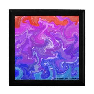 Caja colorida del recuerdo de las ondas joyero cuadrado grande
