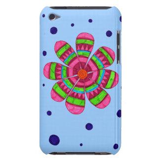 Caja colorida del tacto de iPod de la flor (azul) Case-Mate iPod Touch Carcasas