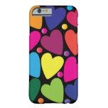Caja colorida del teléfono de los corazones funda para iPhone 6 barely there