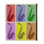 Caja colorida fresca del iPad del collage del saxo