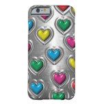Caja colorida fresca del iPhone 6 de los corazones Funda De iPhone 6 Barely There