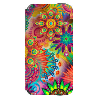 Caja colorida hermosa de la flor funda billetera para iPhone 6 watson