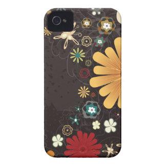 Caja colorida linda del iphone 4 de las flores Case-Mate iPhone 4 coberturas