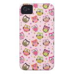 Caja colorida linda del iPhone de los búhos (rosa) iPhone 4 Case-Mate Coberturas