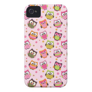 Caja colorida linda del iPhone de los búhos rosa iPhone 4 Case-Mate Coberturas