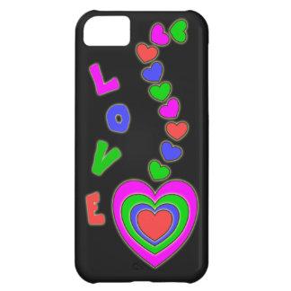 Caja colorida negra del iPhone 5 de los corazones