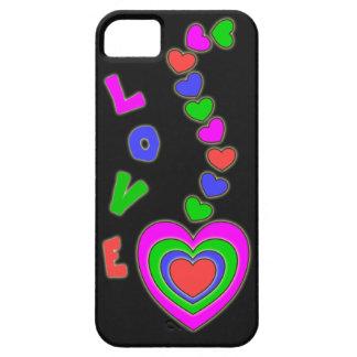 Caja colorida negra del iPhone 5 de los corazones iPhone 5 Cárcasas