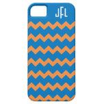 Caja con monograma azul y anaranjada iPhone5 de Ch iPhone 5 Case-Mate Protector