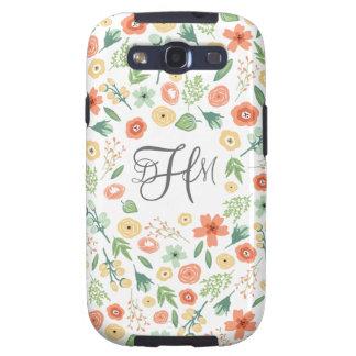 Caja con monograma floral dulce de la galaxia S3 Samsung Galaxy S3 Funda