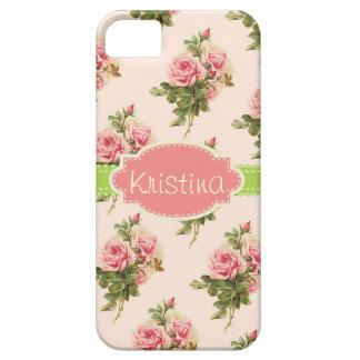 Caja conocida color de rosa floral del vintage iPhone 5 carcasa