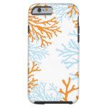 Caja coralina anaranjada y azul del iPhone 6