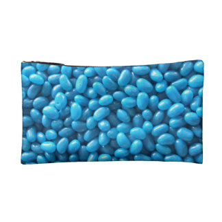 Caja cosmética o embrague azul de la haba de jalea