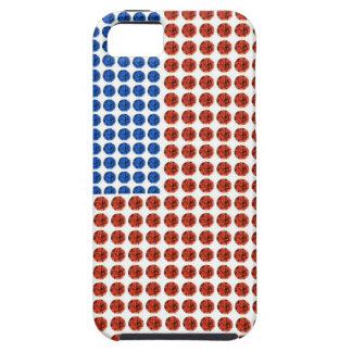 Caja cristalina blanca y azul roja patriótica del iPhone 5 carcasa