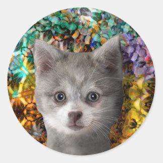 Caja cristalina del castillo de Kippy - Products4 Pegatina Redonda