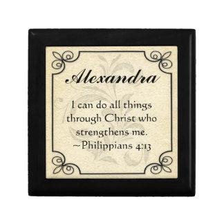 Caja cristiana personalizada del recuerdo del vers joyero cuadrado pequeño