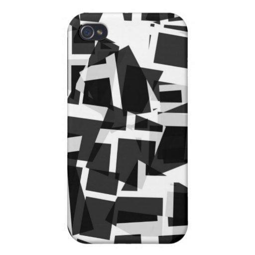 Caja cuadrada blanco y negro del iPhone del diseño iPhone 4 Fundas