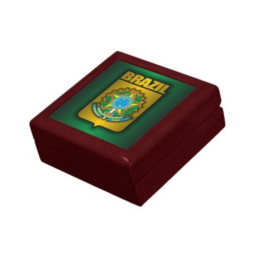 """Caja """"de acero"""" brasileña del recuerdo joyero cuadrado pequeño"""