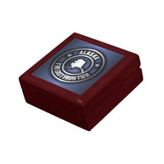 """Caja de acero del recuerdo de """"Alaska"""" (azul) Joyero Cuadrado Pequeño"""