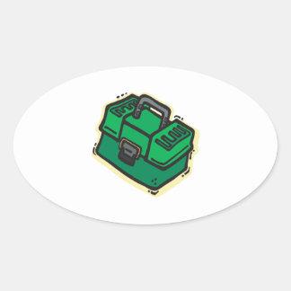 Caja de aparejos 2 pegatina ovalada