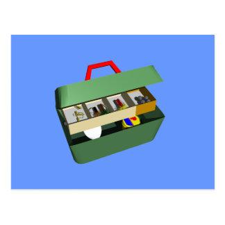 caja de aparejos de pesca tarjeta postal